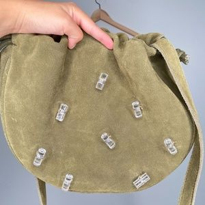 Urban Outfitters Olive Suede Leather Crossbody